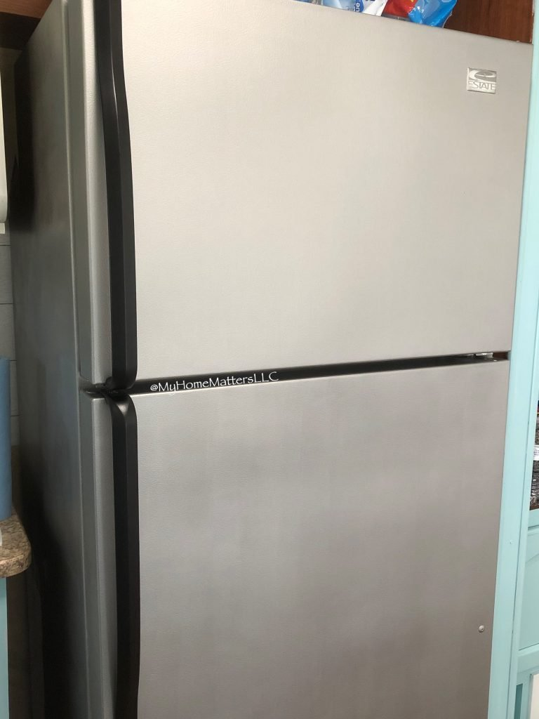 a refrigerator painted with appliance paint