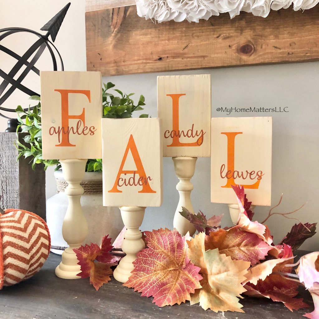 FALL blocks used as decorations on a table
