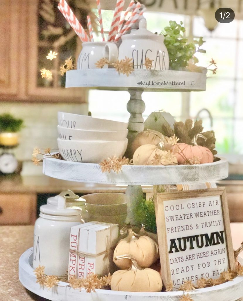 round tiered tray decorated for Fall