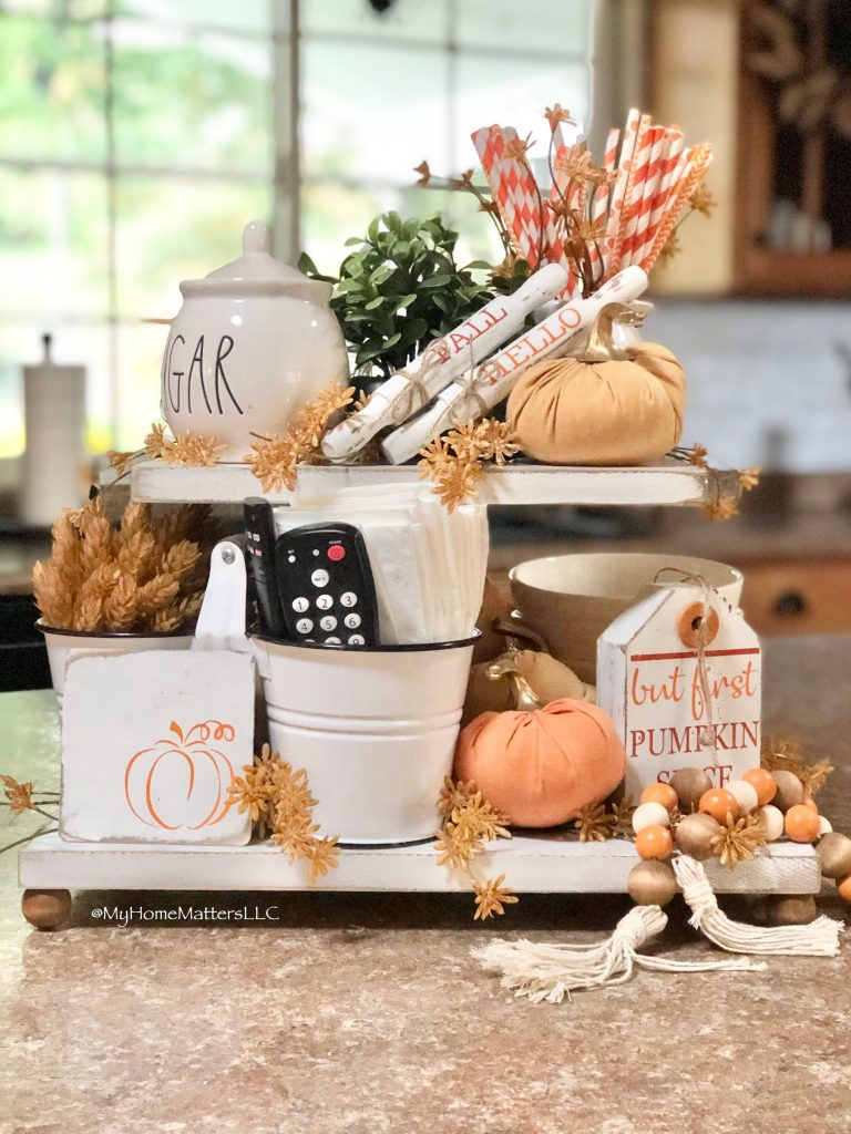 tiered tray decorated for Fall